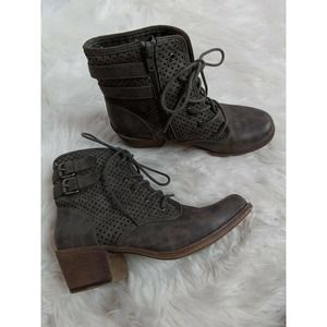 Roxy Vargas Low Olive Lace up Bootie Buckle Zipper